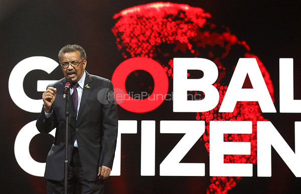 World Health Organisation General Director, Tedros Adhanom, speaks during the first Global Citizen Festival Concert in Hamburg, Germany, 06 July 2017. The G20 Summit of the heads of government and state takes place on 7 and 8 July 2017 in Hamburg. Photo: Georg Wendt/dpa /MediaPunch ***FOR USA ONLY***