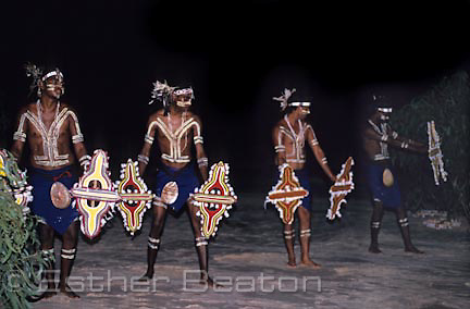 "Bardi Aborigines from One Arm Point host an ""ilma"" or story-telling dance on beach at Cape Leveque, Western Australia."