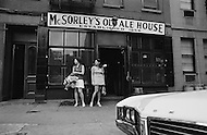 Manhattan, New York City, NY. August 1970.  Lawyers and members of the National Organization for Women Karen DeCrow and Faith Seidenberg  standing and protesting outside the men only  McSorley Old Ale House in Manhattan in 1970. The bar had refused to serve women until 1970.