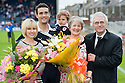 Raith Rovers' Laurie Ellis with his wife, daughter, mum and dad at the end of his testimonial