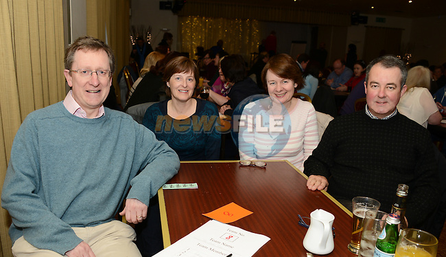 Neil and Catriona Campbell with Louise and Alan Phillips at the Mornington Gospel Choir's table quiz in the Glenside Hotel. www.newsfile.ie