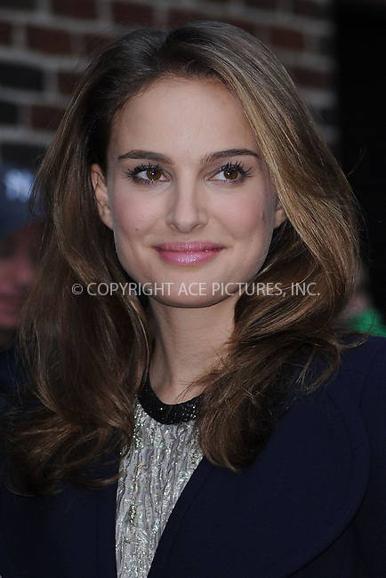 WWW.ACEPIXS.COM . . . . . .November 22, 2010...New York City...Natalie Portman tapes the Late Show with David Letterman on November 22, 2010 in New York City....Please byline: KRISTIN CALLAHAN - ACEPIXS.COM.. . . . . . ..Ace Pictures, Inc: ..tel: (212) 243 8787 or (646) 769 0430..e-mail: info@acepixs.com..web: http://www.acepixs.com .