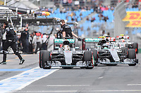 March 19, 2016: Lewis Hamilton (GBR) #44 and Nico Rosberg (DEU) #6 from the Mercedes AMG Petronas team prepare to leave the pits for qualifying at the 2016 Australian Formula One Grand Prix at Albert Park, Melbourne, Australia. Photo Sydney Low
