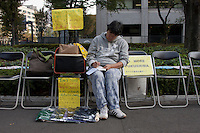 Anti nuclear protest by women outside the Ministry of Economy, Trade and Industry (METI) in Tokyo Japan. Friday November 4th 2011. The protest ran from October 27th to Noverber 5th. Originally started my mothers from Fukushima protesting about nuclear contamination from October 30th to November 5th the protest welcomed women and people from all over Japan.