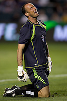 Colorado Rapids goalkeeper Preston Burpo (17) reacts as a ball narrowly misses the back of the net. The Colorado Rapids defeated the LA Galaxy 1-0 during the preliminary rounds of the 2008 US Open Cup at Home Depot Center stadium in Carson, Calif., on Tuesday, May 27, 2008.