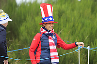 USA supporter at the 2nd tee during Day 3 Singles at the Solheim Cup 2019, Gleneagles Golf CLub, Auchterarder, Perthshire, Scotland. 15/09/2019.<br /> Picture Thos Caffrey / Golffile.ie<br /> <br /> All photo usage must carry mandatory copyright credit (© Golffile | Thos Caffrey)