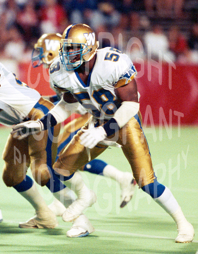 James West Winnipeg Blue Bombers 1990. Photo F. Scott Grant