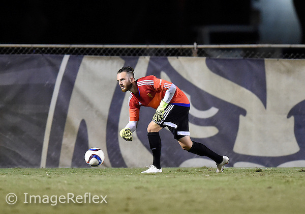 Florida International University men's soccer goalkeeper Robin Spiegel (30) plays against Marshall University. FIU won the match 5-1 on September 26, 2015 at Miami, Florida.