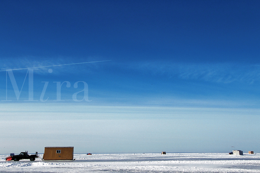 Driving on plowed roads across frozen lake, Lake Mille Lacs, Minnesota