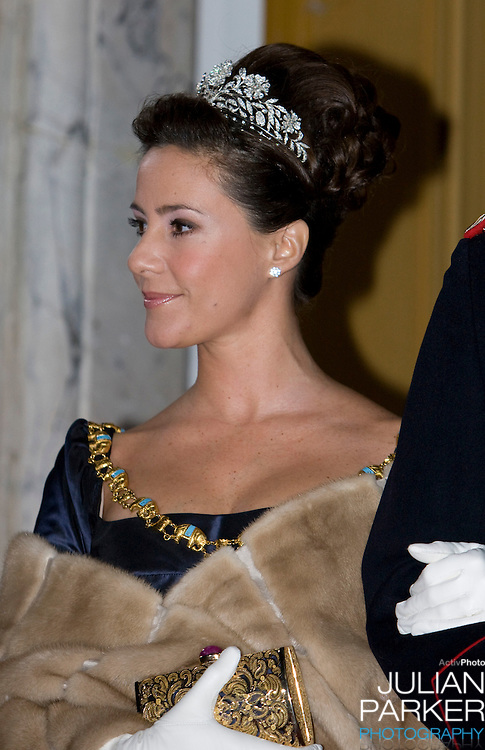 Princess Marie of Denmark attends the Traditional New Year Gala Dinner, at Amalienborg Palace in Copenhagen Denmark