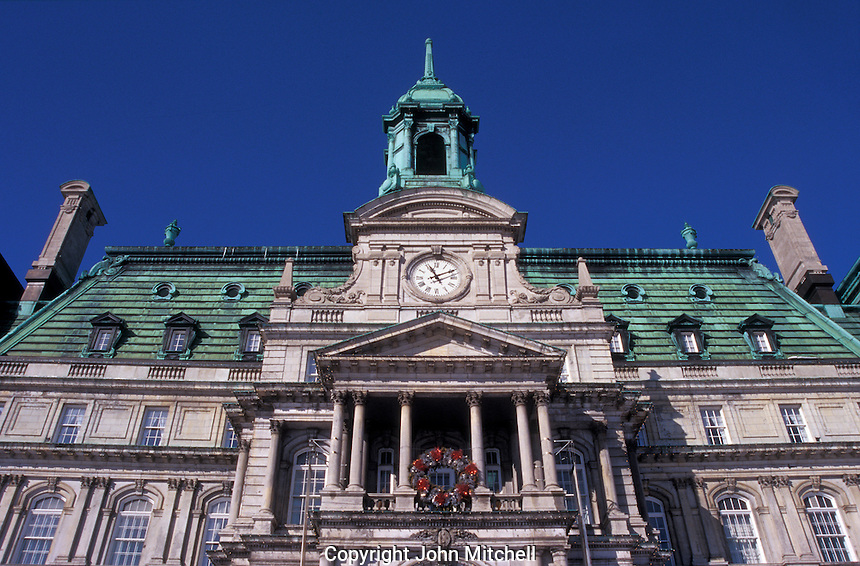 Montreal City Hall building in Old Montreal (Vieux Montreal), Quebec, Canada
