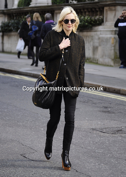NON EXCLUSIVE PICTURE: PERRY SMYLEE / MATRIXPICTURES.CO.UK<br /> PLEASE CREDIT ALL USES<br /> <br /> WORLD RIGHTS<br /> <br /> English television and radio presenter Fearne Cotton is pictured out and about in London. <br /> <br /> The 32 year old looks stylish dressed all in black.<br /> <br /> FEBRUARY 27th 2014<br /> <br /> REF: PSE 141034