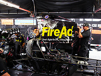 May 5, 2018; Commerce, GA, USA; Crew members for NHRA top fuel driver Leah Pritchett during qualifying for the Southern Nationals at Atlanta Dragway. Mandatory Credit: Mark J. Rebilas-USA TODAY Sports