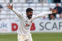 Mohammad Amir of Essex with an appeal for the wicket of Nick Compton during Essex CCC vs Middlesex CCC, Specsavers County Championship Division 1 Cricket at The Cloudfm County Ground on 29th June 2017