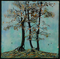 Encaustic painting/photo transfer of trees and crows by artist Jeff League.