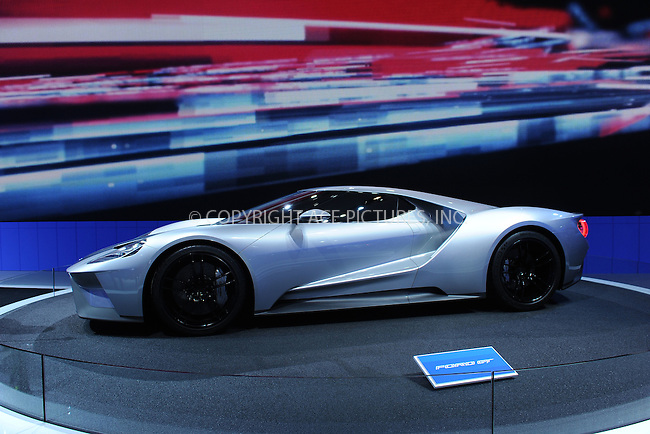 WWW.ACEPIXS.COM<br /> April 1, 2015 New York City<br /> <br /> Ford GT car at the New York International Auto Show at the Jacob K. Javits Convention Center on  April 1, 2015 in New York City.<br /> <br /> Please byline: Kristin Callahan/AcePictures<br /> <br /> ACEPIXS.COM<br /> <br /> Tel: (646) 769 0430<br /> e-mail: info@acepixs.com<br /> web: http://www.acepixs.com