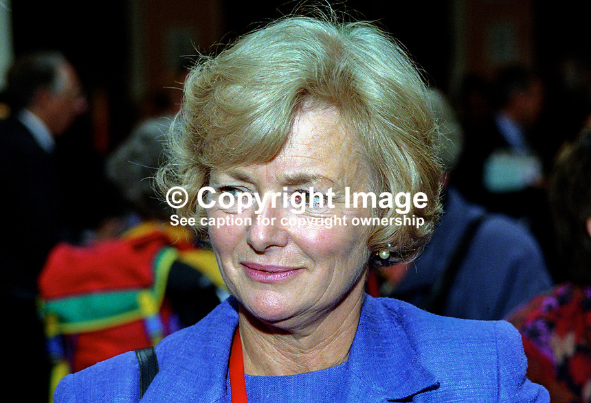 Glenys Kinnock, MEP, Labour Party, UK, 199810122.<br /> <br /> Copyright Image from Victor Patterson,<br /> 54 Dorchester Park, <br /> Belfast, UK, BT9 <br /> <br /> t1: +44 28 9066 1296 (from Rep of Ireland 048 90661296)<br /> t2: +44 28 9002 2446 (from Rep of Ireland 048 9002 2446)<br /> <br /> m: +44 7802 353836<br /> <br /> e: victorpatterson@me.com<br /> www.victorpatterson.com<br /> <br /> Please see my Terms and Conditions of Use at www.victorpatterson.com. It is IMPORTANT that you familiarise yourself with them.<br /> <br /> Images used on the Internet must be visibly watermarked i.e. &copy; Victor Patterson<br /> within the body of the image and copyright metadata must not be deleted. Images <br /> used on the Internet have a size restriction of 4kbs and will be chargeable at current<br />  NUJ rates unless agreed otherwise.<br /> <br /> This image is only available for the use of the download recipient i.e. television station, newspaper, magazine, book publisher, etc, and must not be passed on to any third <br /> party. It is also downloaded on condition that each and every usage is notified within 7 days to victorpatterson@me.com<br /> <br /> The right of Victor Patterson to be identified as the author is asserted in accordance with The Copyright Designs And Patents Act (1988). All moral rights are asserted.