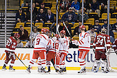 Garrett Noonan (BU - 13), Sahir Gill (BU - 28), Wade Megan (BU - 18), Cason Hohmann (BU - 23), Patrick MacGregor (BU - 4) - The Boston University Terriers defeated the Harvard University Crimson 3-1 in the opening round of the 2012 Beanpot on Monday, February 6, 2012, at TD Garden in Boston, Massachusetts.