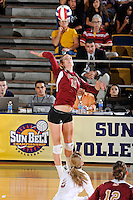 17 November 2011:  Denver outside hitter Cassie Ronda (11) hits a kill shot in the second set as the FIU Golden Panthers defeated the Denver University Pioneers, 3-1 (25-21, 23-25, 25-21, 25-18), in the first round of the Sun Belt Conference Tournament at U.S Century Bank Arena in Miami, Florida.