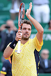 Stanislaus Wawrinka (SUI) defeats Milos Raonic (CAN) 7-6(5), 6-2 at the Monte Carlo Tennis Masters event in Monte Carlo, Monaco on April 18, 2014