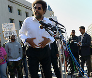 October 17, 2011  (Washington, DC)  Dr. Cornel West held a press conference after his appearance before a judge at the DC Superior Court.  West and 16 others, including R&B singer Raheem DeVaughn (left) and participants in Occupy DC and members of October2011, were arrested for protesting on the grounds of the US Supreme Court on October 16, 2011.     Also in this photo: Rev. Jesse L. Jackson, Sr. (center, right)    (Photo by Don Baxter/Media Images International)