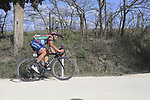 The peloton including Moreno Moser (ITA) Nippo-Vini Fantini-EUR.OV. on sector 2 Bagnaia during Strade Bianche 2019 running 184km from Siena to Siena, held over the white gravel roads of Tuscany, Italy. 9th March 2019.<br /> Picture: Eoin Clarke | Cyclefile<br /> <br /> <br /> All photos usage must carry mandatory copyright credit (© Cyclefile | Eoin Clarke)
