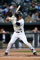 Shortstop Edgardo Fermin (10) of the Columbia Fireflies bats in a game against the Augusta GreenJackets on Opening Day, Thursday, April 5, 2018, at Spirit Communications Park in Columbia, South Carolina. Columbia won, 4-2. (Tom Priddy/Four Seam Images)