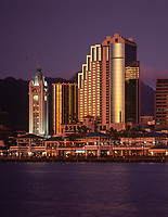 Aloha Tower Marketplace at Night, Honolulu, Oahu, Hawaii, USA.