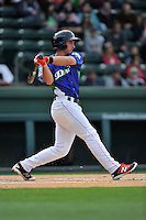 Third baseman Mitchell Gunsolus (16) of the Greenville Drive bats in a game against the Asheville Tourists on Sunday, April 10, 2016, at Fluor Field at the West End in Greenville, South Carolina. Greenville won 7-4. (Tom Priddy/Four Seam Images)
