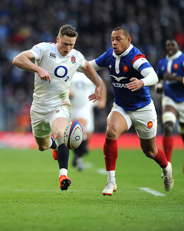 Chris Ashton of England is tackled by Gaël Fickou of France without the ball, resulting in a yellow card for Gaël Fickou and a penalty try being awarded to England during the Guinness Six Nations match between England and France at Twickenham Stadium on Sunday 10th February 2019 (Photo by Rob Munro/Stewart Communications)