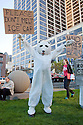 "Person in polar bear costume holds a ""Please Don't Melt My Ice Cap"" sign. Hundreds of people gathered in downtown San Francisco for 350.org's International Day of Climate Action, October 24, 2009. Greenpeace, Mobilization for Climate Justice, and many others helped put on the local event. California, USA"