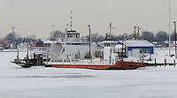 An ice jam on the lower St. Clair River has  shut down the Bluewater Ferry, in Sombra. The Bluewater Ferry currently operates two vessels,  the Daldean of Chatham and the Ontamich. The Daldean of Chatham is larger and can carry 12 car equivalents or two semi-trailer trucks, while the Ontamich, launched 1939, is capable of ferrying 9 car equivalents or one semi-trailer truck.  The two ferries  are seen at the dock, Wednesday, Jan 8, 2014.
