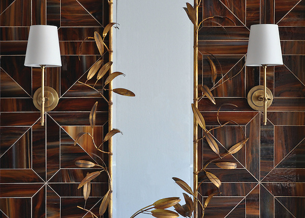 Truman, a jewel glass waterjet mosaic shown in Tortoise Shell, is part of the Parquet Line by Sara Baldwin for New Ravenna Mosaics. <br />