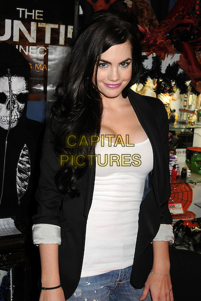 "JILIAN MURRAY .""Girls & Corpses"" Magazine Cover signing at the Dark Delicacies Store, Burbank, California, USA, 15th November 2009..half length jacket blazer sleeves rolled up cleavage smiling black beige .CAP/ADM/BP.©Byron Purvis/AdMedia/Capital Pictures."