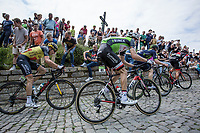 Overall leader and later GC winner Tom Dumoulin (NED/Sunweb) up the infamous Kapelmuur (muur van Geraardsbergen)<br /> <br /> Binckbank Tour 2017 (UCI World Tour)<br /> Stage 7: Essen (BE) &gt; Geraardsbergen (BE) 191km