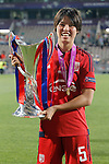 Olympique Lyonnais's Saki Kumagai celebrates the victory in the UEFA Women's Champions League 2015/2016 Final match.May 26,2016. (ALTERPHOTOS/Acero)