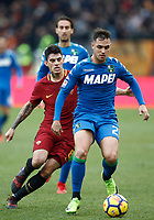 Calcio, Serie A: AS Roma - Sassuolo, Roma, stadio Olimpico, 30 dicembre 2017.<br /> Sassuolo's Pol Lirola (r) in action with Roma's Diego Perotti (l) during the Italian Serie A football match between AS Roma and Sassuolo at Rome's Olympic stadium, 30 December 2017.<br /> UPDATE IMAGES PRESS/Isabella Bonotto