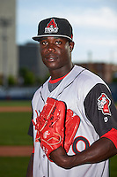 Arkansas Travelers pitcher Victor Alcantara (40) poses for a photo before a game against the Tulsa Drillers on April 28, 2016 at ONEOK Field in Tulsa, Oklahoma.  Tulsa defeated Arkansas 5-4.  (Mike Janes/Four Seam Images)