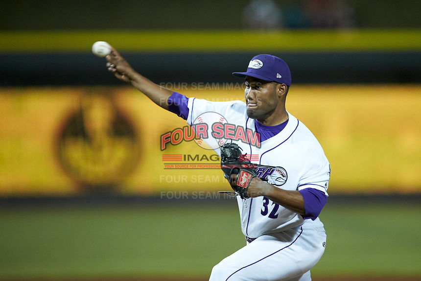 Winston-Salem Dash relief pitcher Jose Nin (32) delivers a pitch to the plate against the Carolina Mudcats at BB&T Ballpark on June 1, 2019 in Winston-Salem, North Carolina. The Dash defeated the Mudcats 5-4 in game two of a double header. (Brian Westerholt/Four Seam Images)