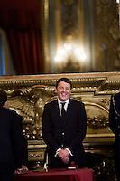 Roma, 22 Febbraio, 2014. Il nuovo Presidente del Consiglio Matteo Renzi al Quirinale subito dopo il suo giuramento.<br /> Italian Prime Minister  during the swearing in ceremony of the new government at Quirinale Palace.