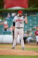 Richmond Flying Squirrels relief pitcher Dan Slania (45) looks in for the sign during a game against the Altoona Curve on May 15, 2018 at Peoples Natural Gas Field in Altoona, Pennsylvania.  Altoona defeated Richmond 5-1.  (Mike Janes/Four Seam Images)
