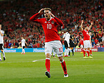 Aaron Ramsey of Wales reacts after missing a chance during the World Cup Qualifying Group D match at the Cardiff City Stadium, Cardiff. Picture date 2nd September 2017. Picture credit should read: Simon Bellis/Sportimage