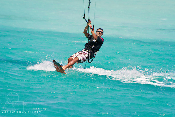 Water sports on the lagoon at St Francois - male kite surfer close up