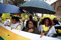 """BOGOTÁ -COLOMBIA. 09-10-2014. Aida Abella durante la Marcha por la """"Dignidad de las Víctimas del Genocidio contra La UP"""" realizada hoy, 9 de octuber de 2014, en el centro de la ciudad de Bogotá./ Aida Abella during the March for the """"Dignity of Victims of Genocide against The UP"""" took place today, October 9 2014, at downtown of Bogota city. Photo: Reiniciar /VizzorImage/ Gabriel Aponte<br /> NO VENTAS / NO PUBLICIDAD / USO EDITORIAL UNICAMENTE / USO OBLIGATORIO DELCREDITO"""