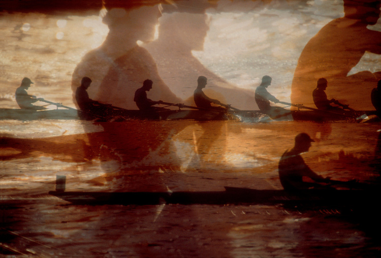 Rowing crew montage, eight oared shells in competition.