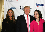 Melania & Donald Trump & Sarah Hughes at Skating with the Stars (celebrities & Olympic skaters), a benefit gala for Figure Skating in Harlem on April 6, 2010 at Wollman Rink, Central Park, New York City, New York. (Photo by Sue Coflin/Max Photos)