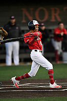 Second baseman Jeremy Whitehead (8) of the North Greenville Crusaders bats a game against the Palm Beach Atlantic Sailfish on Monday, February 25, 2019, at Ashmore Park in Tigerville, South Carolina. Palm Beach won, 7-5. (Tom Priddy/Four Seam Images)