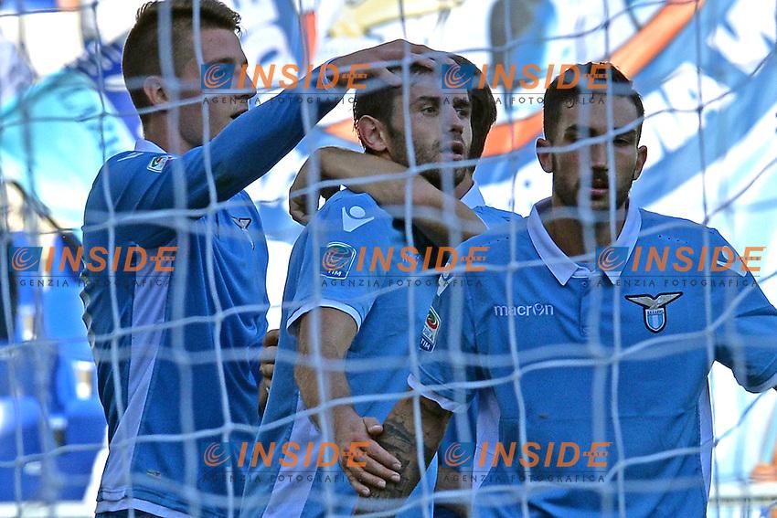 Esultanza dopo il gol di Senad Lulic Lazio. Goal celebration.<br /> Roma 25-09-2016  Stadio Olimpico<br /> Campionato Serie A,<br /> Lazio - Empoli<br /> Foto Antonietta Baldassarre / Insidefoto