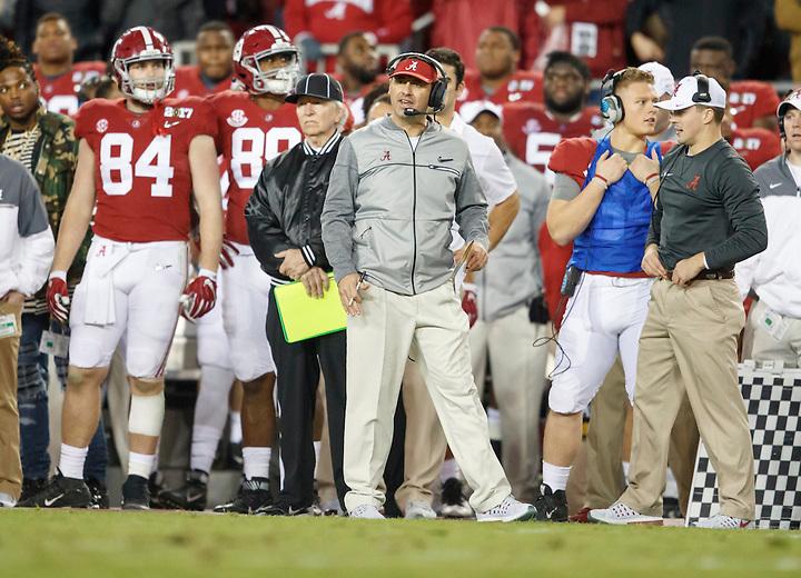 JANUARY 9, 2017: Alabama Offensive Coordinator Steve Sarkisian during the 2017 College Football Playoff National Championship game at Raymond James Stadium. Photo by Matt May