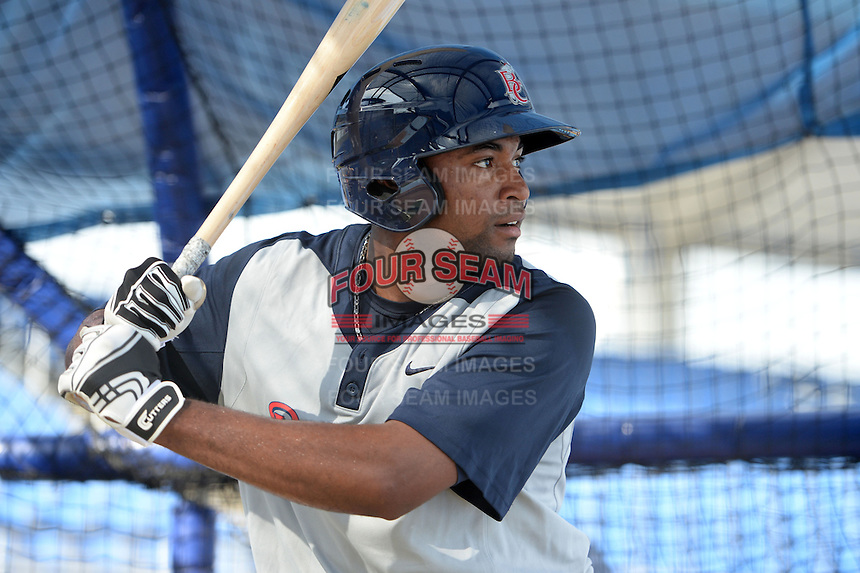 Brevard County Manatees outfielder Jose Pena (16) in the batting cage during practice before a game against the Dunedin Blue Jays on April 23, 2015 at Florida Auto Exchange Stadium in Dunedin, Florida.  Brevard County defeated Dunedin 10-6.  (Mike Janes/Four Seam Images)